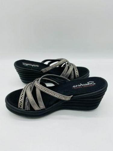 Skechers Rumbler New Lassie Multi-Strap Slide Sandals Pewter 7