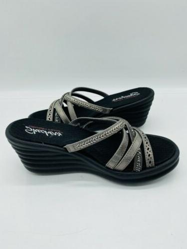 Skechers New Slide Sandals Pewter 7