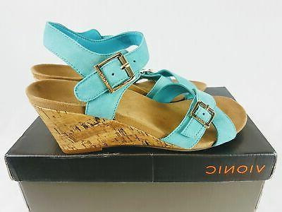 VIONIC Women's Ankle Strap Wedge Blue - Size 38/7