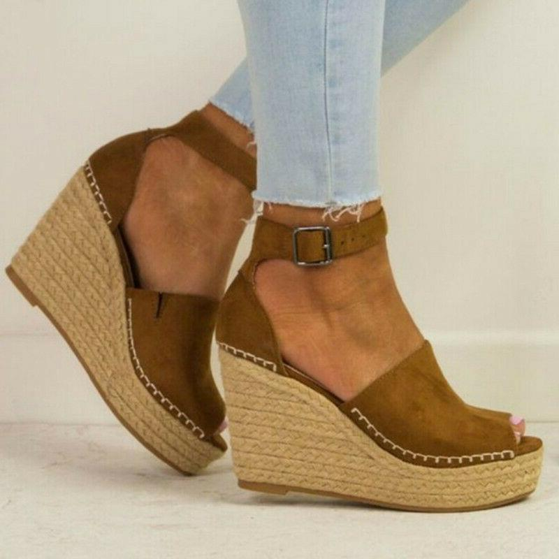 Women's Ankle Open Toe Wedge High Sandals Shoes