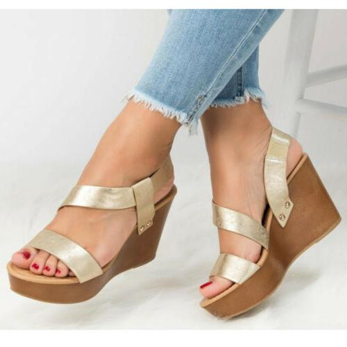 Women's Strap Heel Slingback Ladies Summer PU Shoes