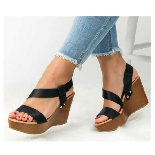 Women's Heel Slingback Sandals Platform Ladies Summer Shoes