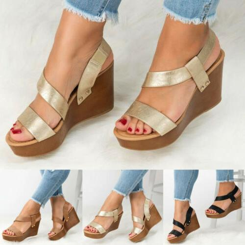 Women's Ankle Wedge Heel Slingback Sandals Ladies PU