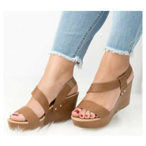 Women's Ankle Strap Heel Slingback Sandals Ladies