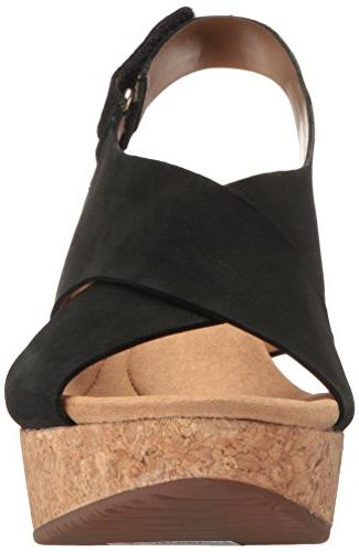 CLARKS Annadel Wedge Sandal, Black 7.5