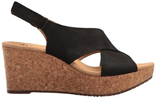 CLARKS Women's Annadel Eirwyn Wedge Sandal, Black 7.5