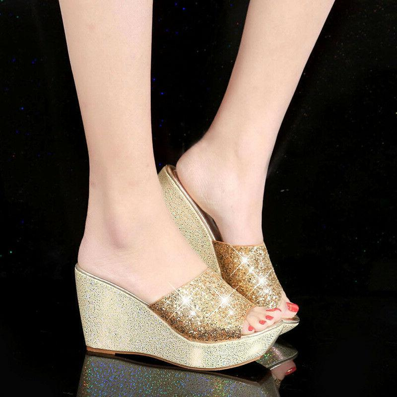 Women's Bling Leather Sandals Lady Peep Slippers Shoes