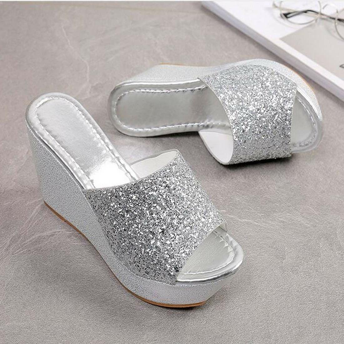 Women's Bling Lady Platform Wedge Peep Slippers Shoes