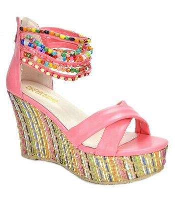 women s bling weave wedge ankle pearls