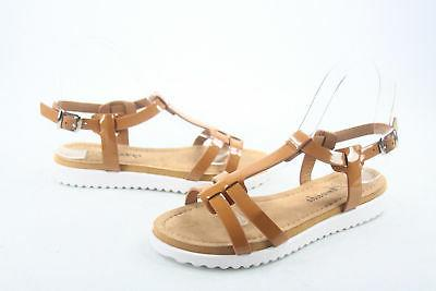 Women's Cute White Sole T-Strap Low Flat Sandal 5 11