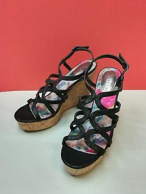 Madden Girl Women's Elmaa Wedge Sandal Size 10 B US BLACK