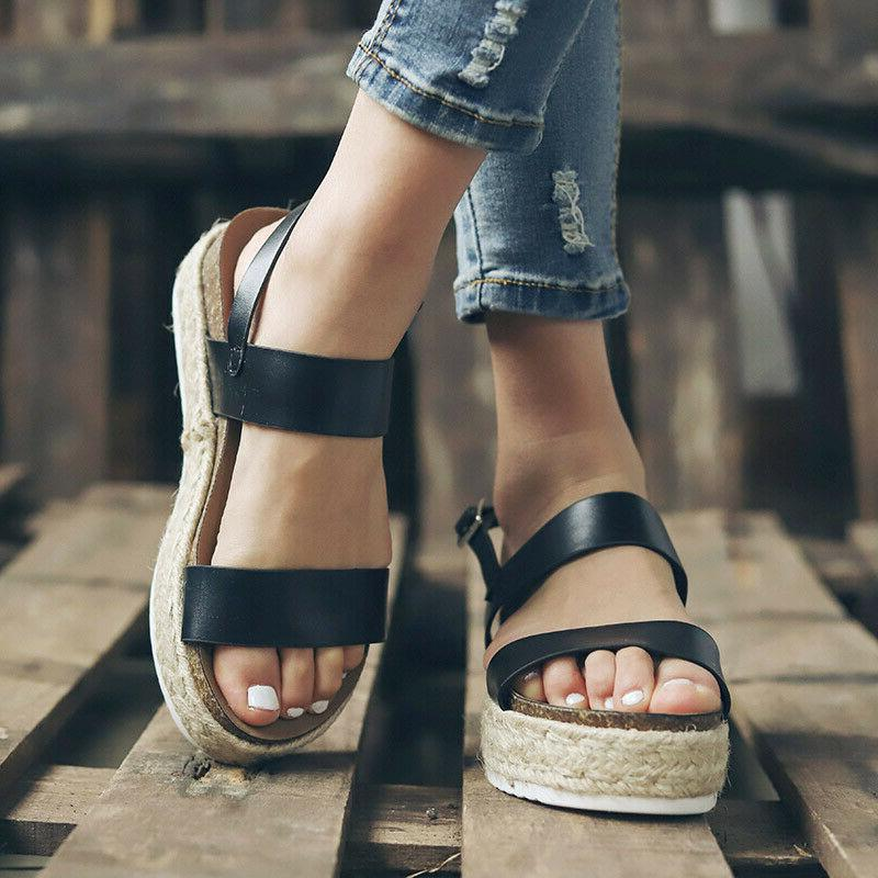 Women's Sandals Espadrille Ankle Summer Peep Buckle Wedge Shoes