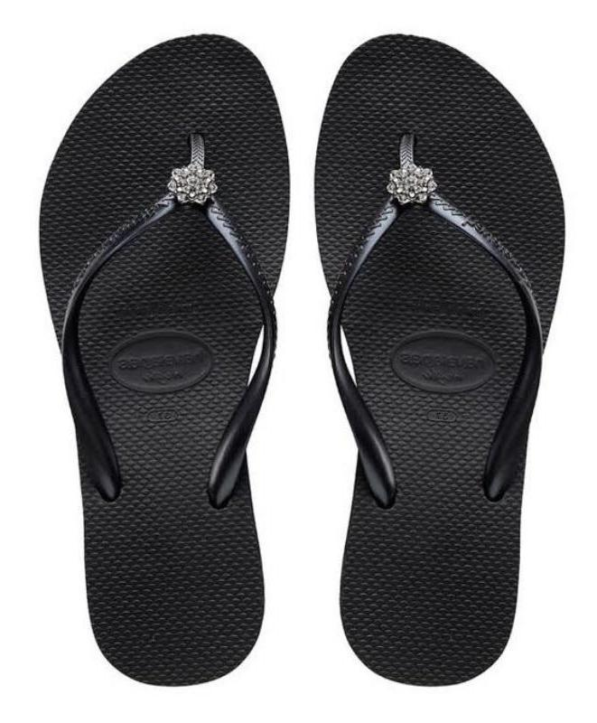 Havaianas Women`s Flip Flops High Fashion Poem Black Wedge S