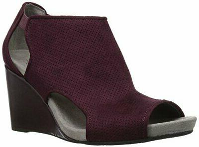 LifeStride Women's Hinx Wedge Sandal, Dark Red, 9 M