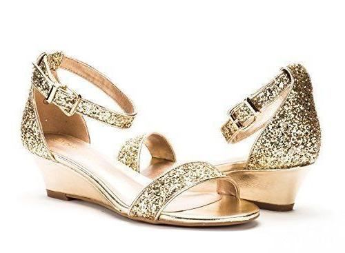 Dream Pairs Women's INGRID Gold Glitter Strap Low Wedge Sandals 8