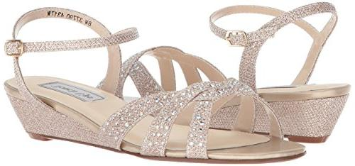 Touch Ups Wedge Sandal, Champagne, 9 W US