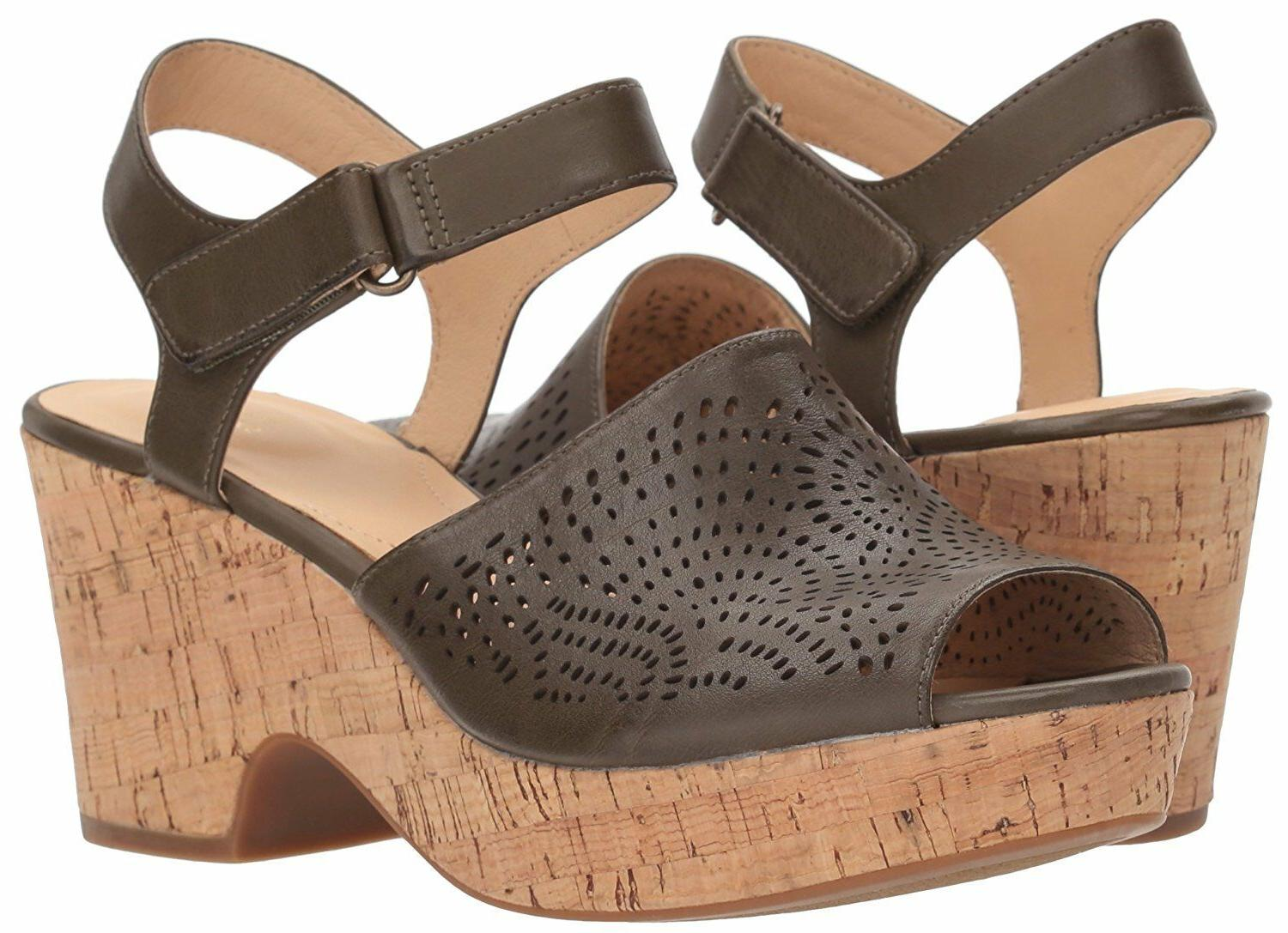 Clarks Women's Maritsa Nila Wedge Sandal Khaki Leather Platf