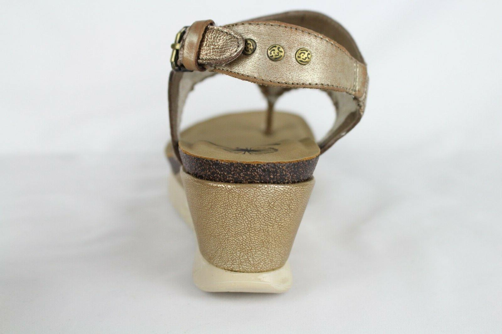 OTBT Women's Cork Wedge Gold Leather