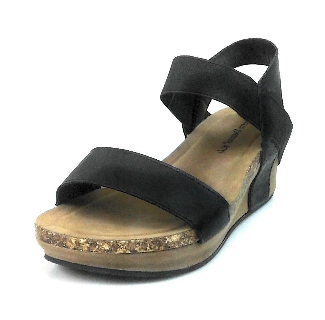 Women's Open Toe Elastic Strap Low Wedge Comfy Sandals by Pi
