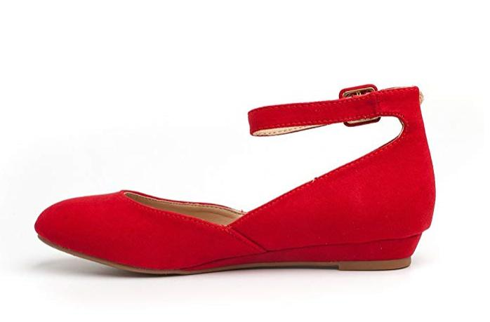 Low Wedge Flats Shoes RED 10