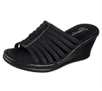 Women's SKECHERS RUMBLERS HOT SHOT Black MEMORY FOAM Wedge S