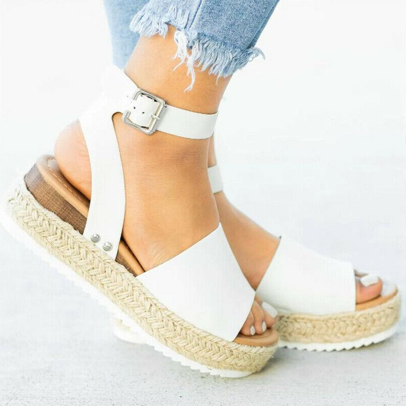 Women's Open Toe Ladies Platform Casual Shoes US
