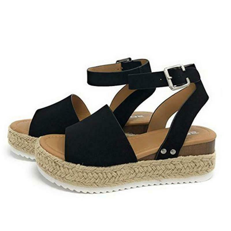 Women's Sandals Open Toe Ladies Straw Platform Buckle US