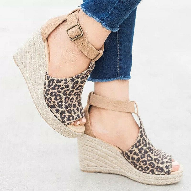 Women's Ankle Ladies Open Toe Espadrilles Shoes