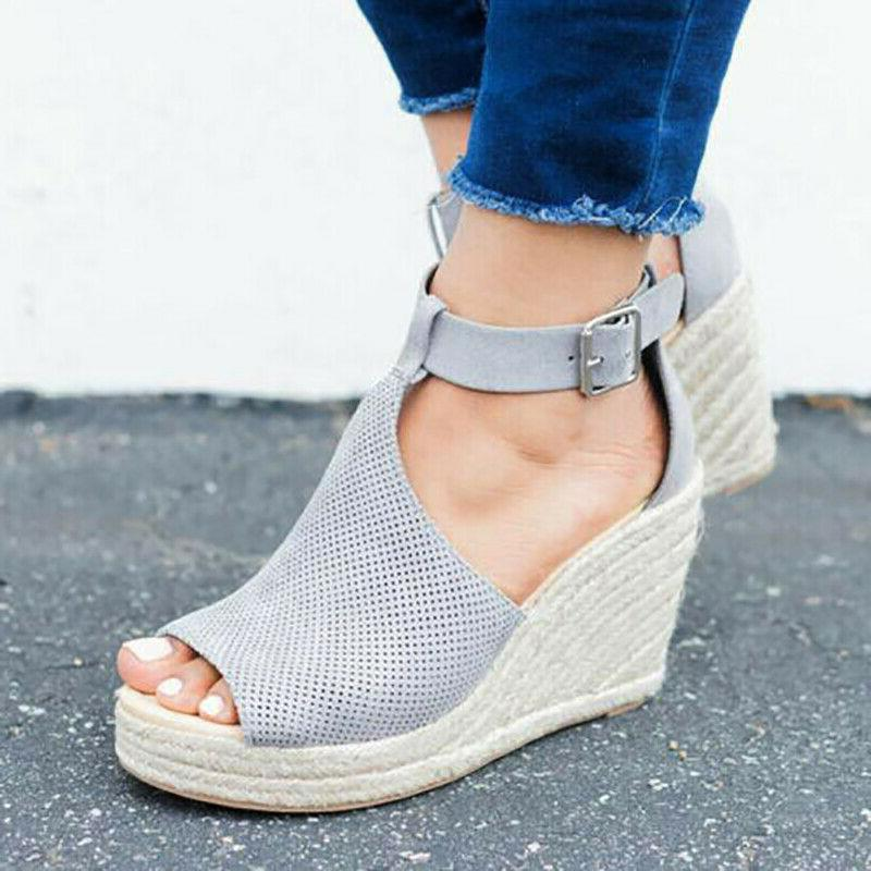 Women's Wedge Ankle Strap Ladies Open Toe Espadrilles
