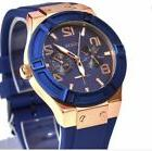 GUESS Women's U0571lL1 Silicone Rigor Blue And Rose Gold Ton