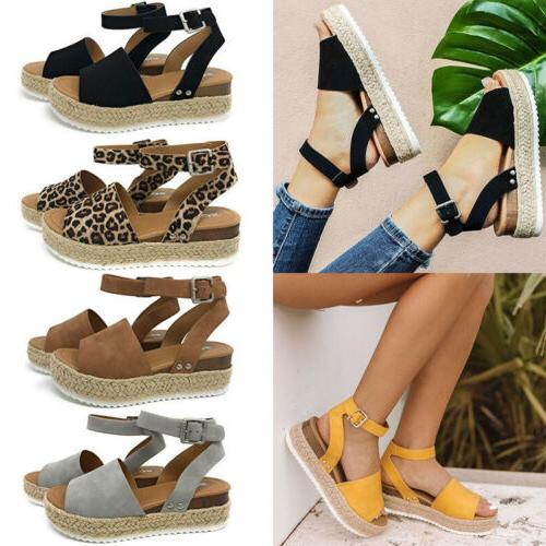 Women's Wedge Heels Strap Sandals Open Shoes