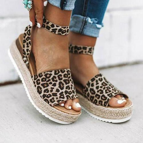 Women's Heels Ankle Strap Sandals Open Espadrilles