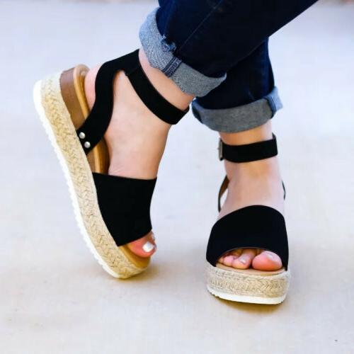 Women's Wedge Heels Ankle Strap Sandals Open Toe