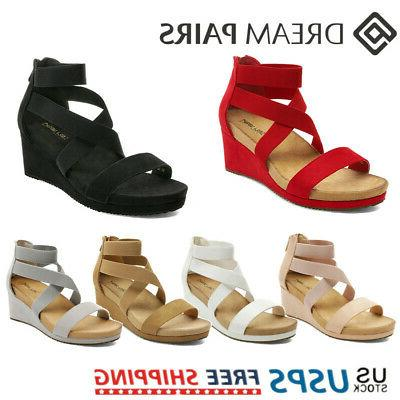 women s wedge sandals elastic ankle strap
