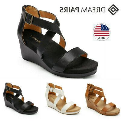 women s wedge sandals open toe ankle