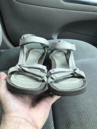 Women's taupe ankle strap wedge sandals 41