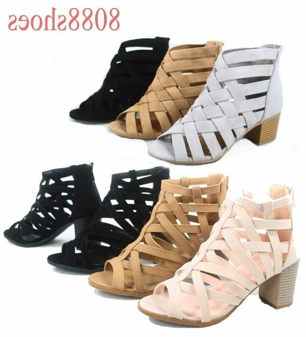 women s zip strappy open toe chunky