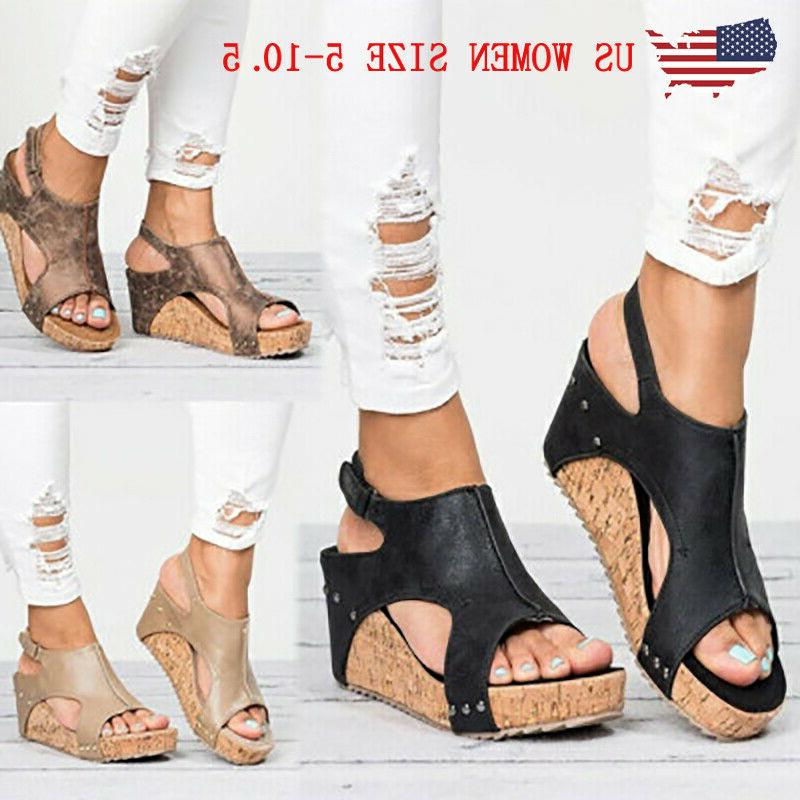 us women sandals wedge platform heel slingback