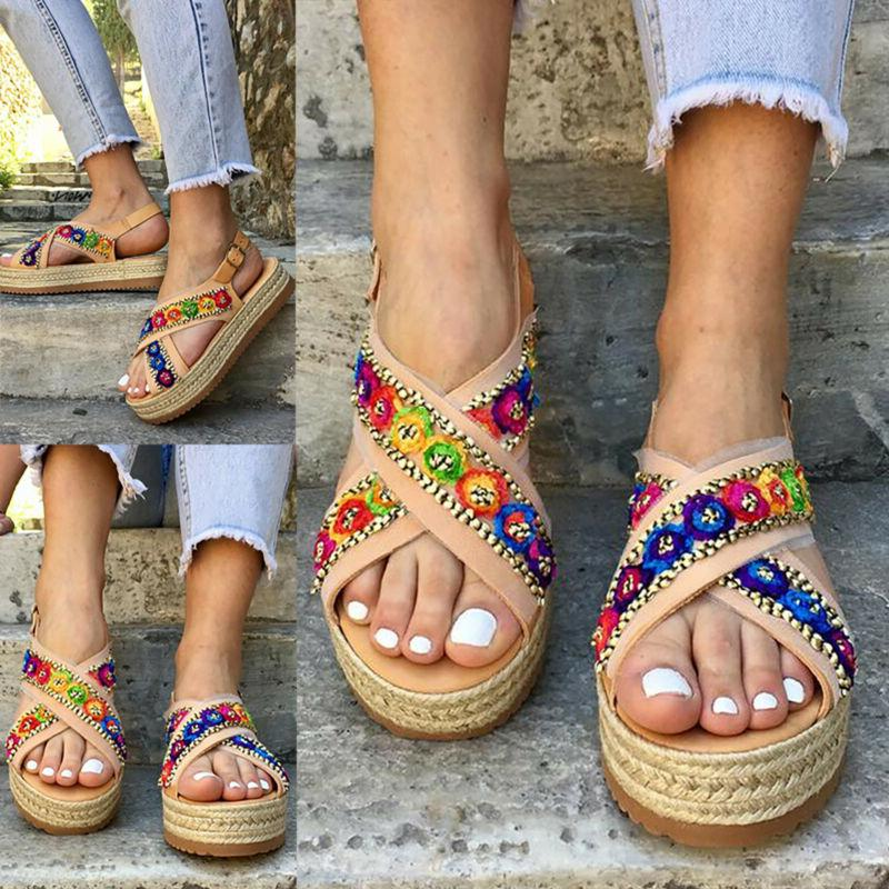 Women Summer Gypsy Hippie Espadrille Sandals Wedge Slingback Casual Shoes Size