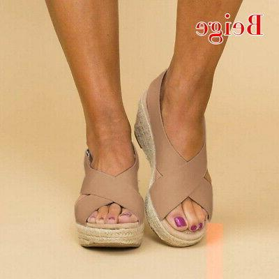 Women Wedge Espadrille Toe