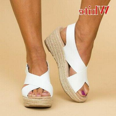 Women Summer Wedge Flat Espadrille Toe Beach