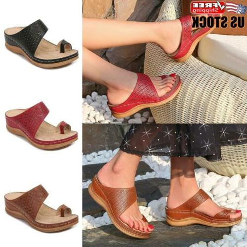 women summer toe ring sandals wedges slippers