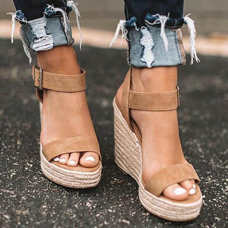 Womens Platform Sandals Wedge Espadrille Ankle Strap