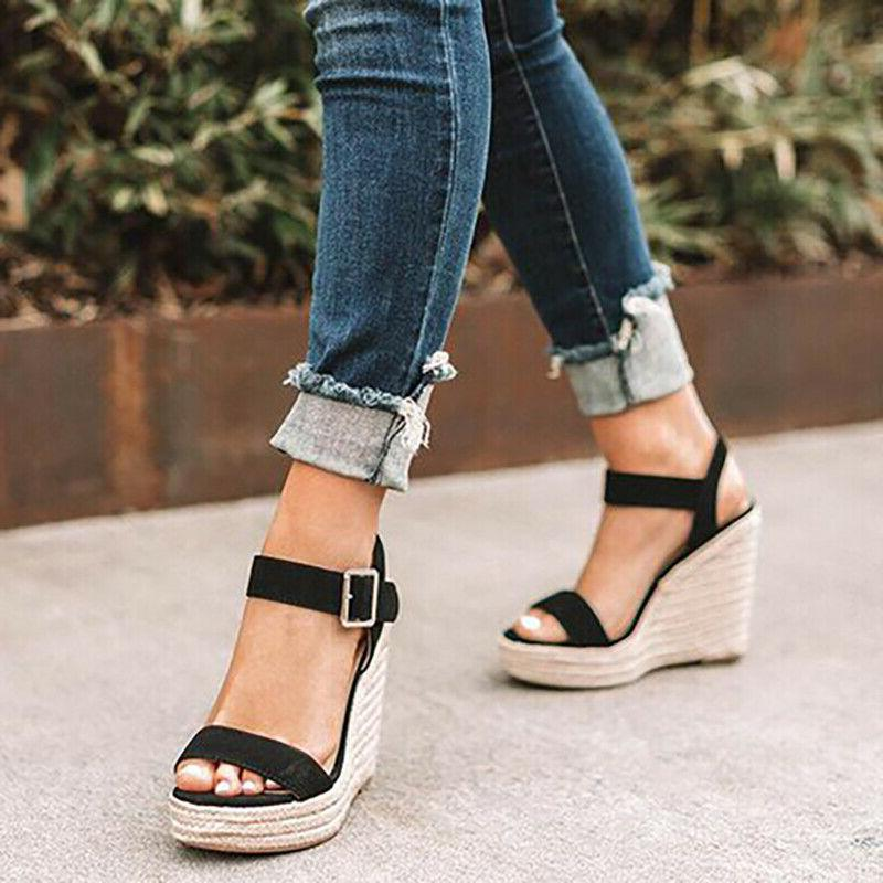 Womens Wedge Heel Summer Ankle Strap