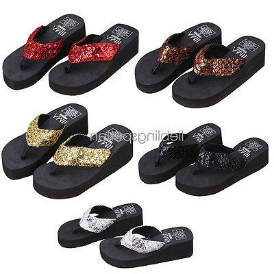 Women Wedge Sandals Sequin Thong Flip Flops Platform Slipper