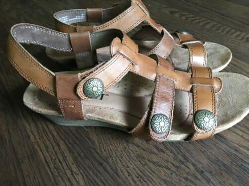 womens 7 M Cobb Hill Harper Supportive Sandals Tan Leather W