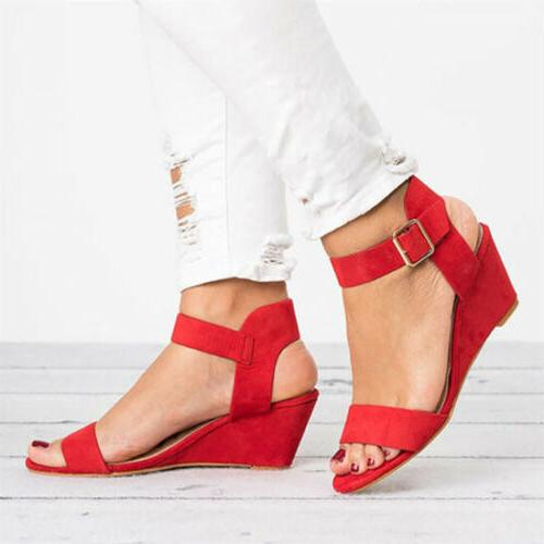 Womens Ankle Strap Buckle Sandals Wedge Heel Summer Size