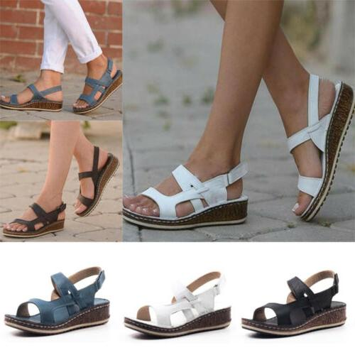 Womens Strap Summer Wedge Heels Sandals Shoes 6-9