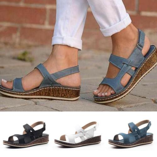 Womens Ankle Summer Low Wedge Heels Size 6-9