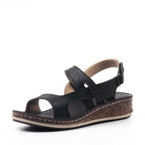 Womens Ankle Strap Summer Low Heels Sandals Shoes Size 6-9